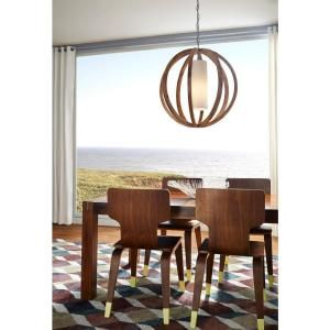Feiss Allier Wood/Brushed Steel Large Pendant F2952/1LW/BS at The Home Depot - Mobile