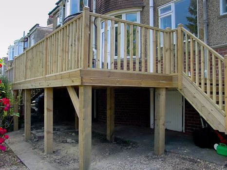 How To Build Raised Decking On Stilts Google Search Building A Deck Diy Deck Deck Design