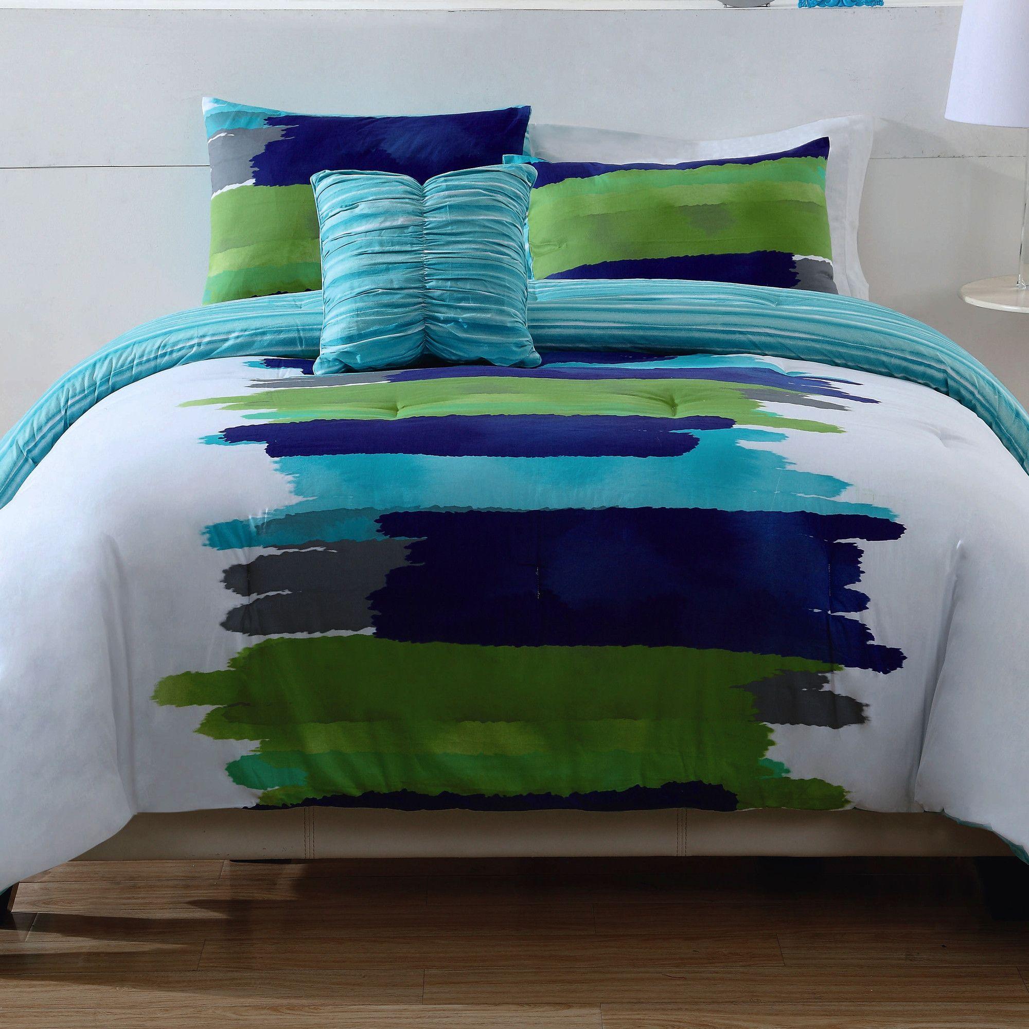 Watercolor Blue Comforter Set In Green