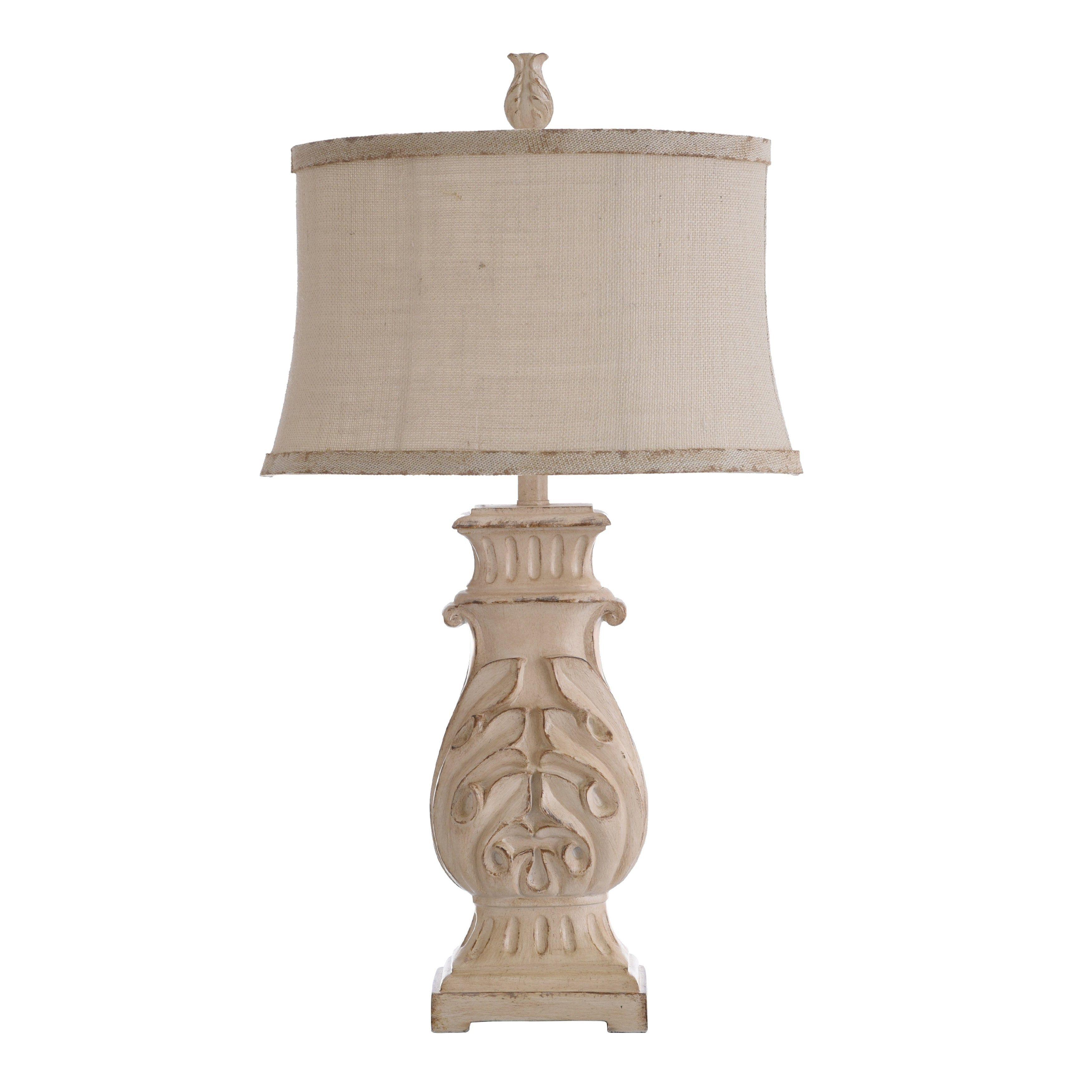 Bokava Distressed Antique White Table Lamp Beige Softback Fabric