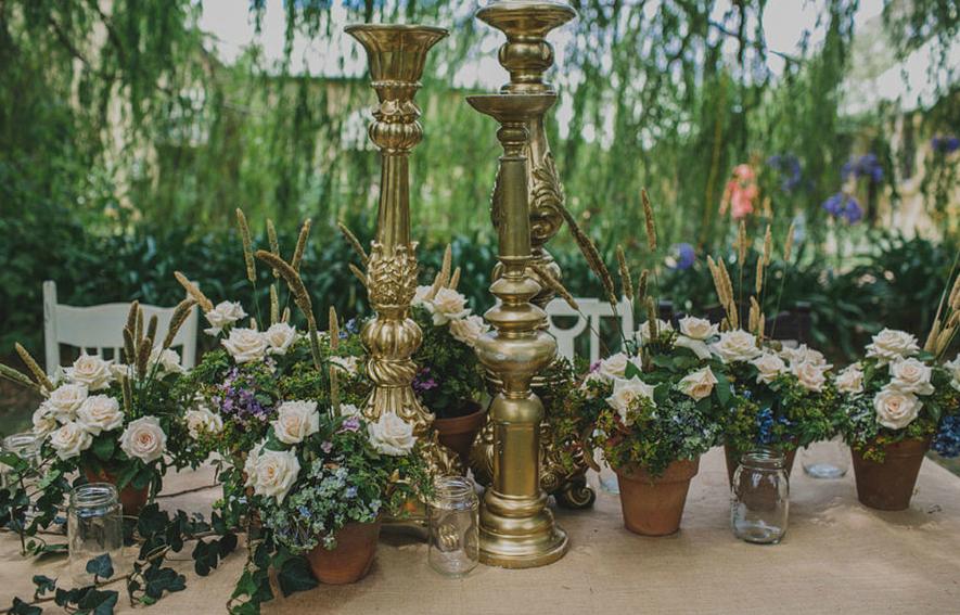 garden pots and rustic florals