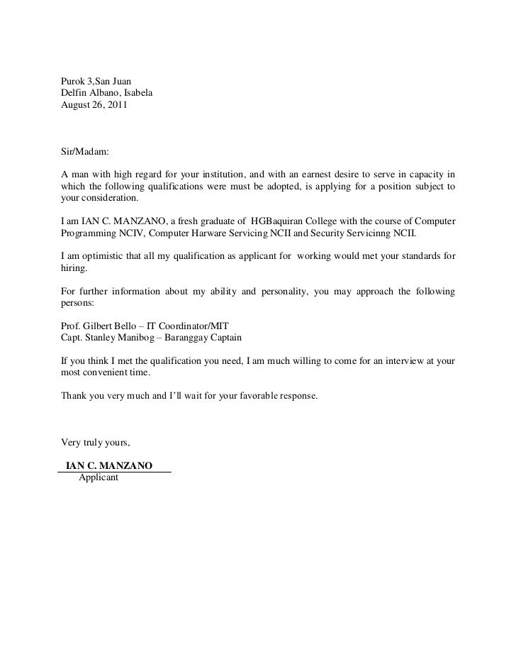 Purok San Juan Delfin Albano Isabela August Sir Madam Cover Letter