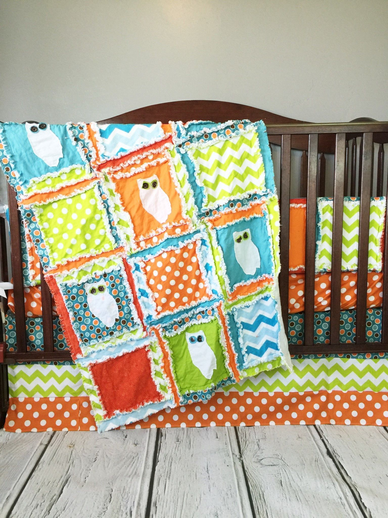 Orange owl crib bedding - Owl Crib Bedding In Orange Blue And Green With Applique Owls On The