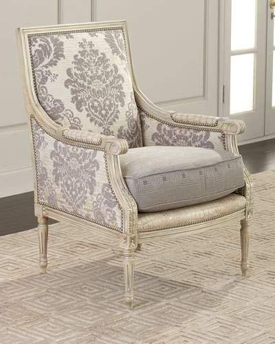 Massoud Kaylynn Accent Chair is part of Accent chairs - cotton; polyester  Arm trim and seat base leather  Corner block, glued and screwed  26 W x 31 D x 39 T  Arm height, 25   Seat height, 19   Seat depth, 21   Dry clean  Made in the USA of Italian materials  Boxed weight, approximately 45 lbs