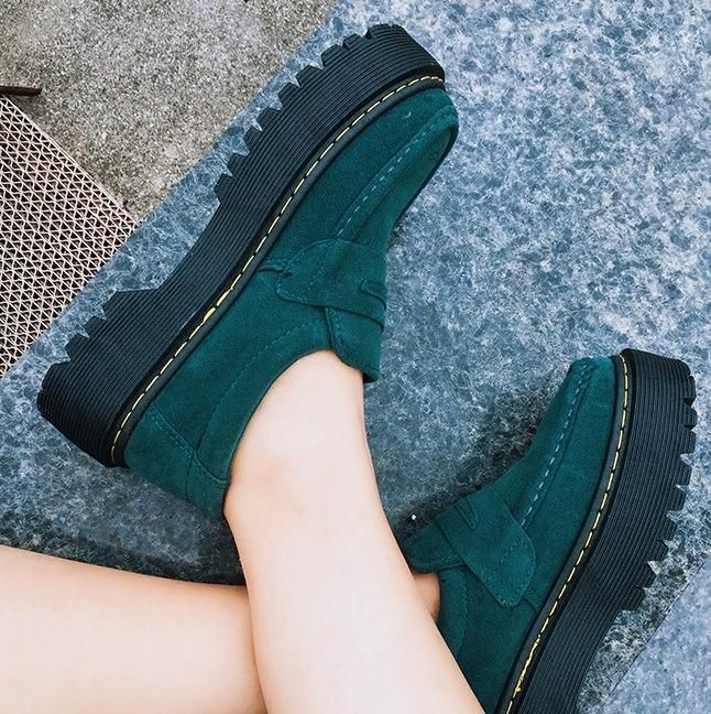 981ffb0e8c1 itGirl Shop SUEDE BEIGE EMERLAND GREEN CLOSED GRUNGE CREEPER BOOTS  Aesthetic Apparel