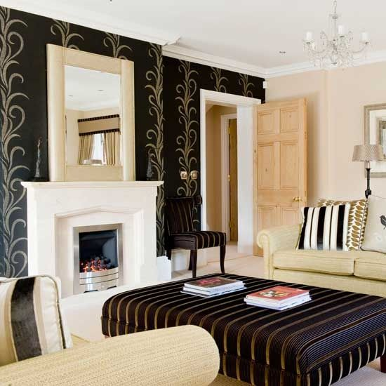 Black Wallpaper And Golden Stripes On Furniture Upholstery Fabric For Modern Living Room Design