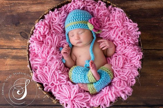 Download PDF crochet pattern - Earflap hat with rose and leg warmers ...