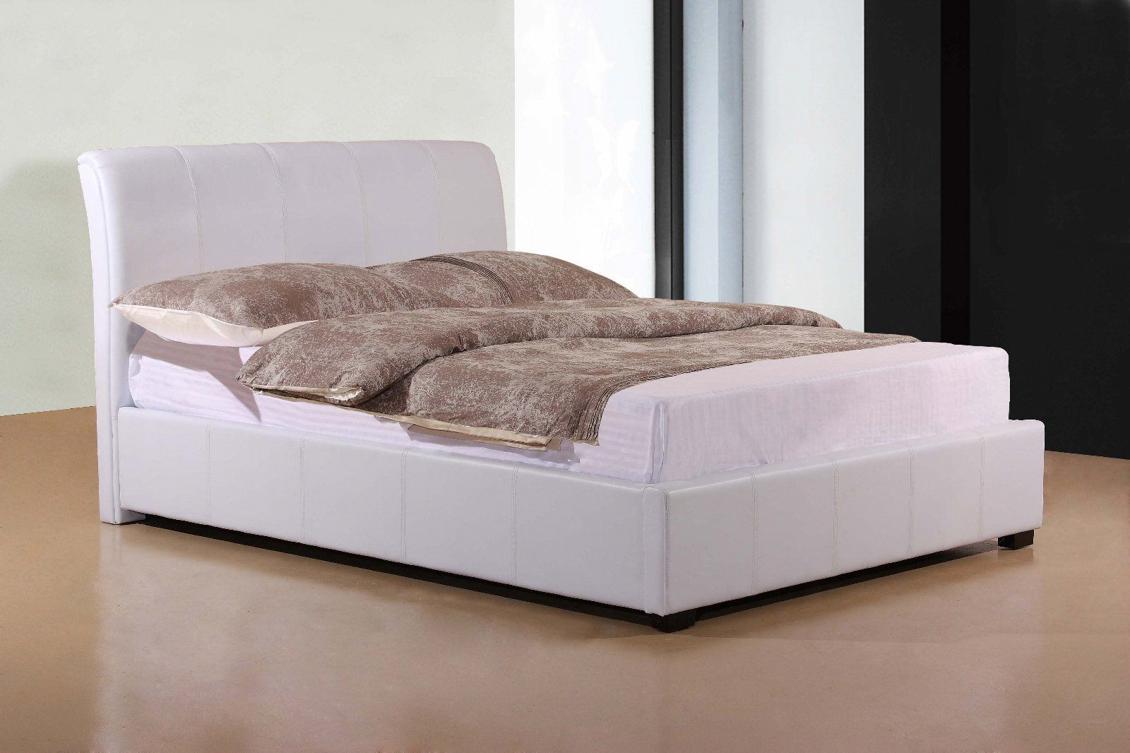 Tremendous Otto Faux Leather Ottoman Bed White From 352 Free Bralicious Painted Fabric Chair Ideas Braliciousco