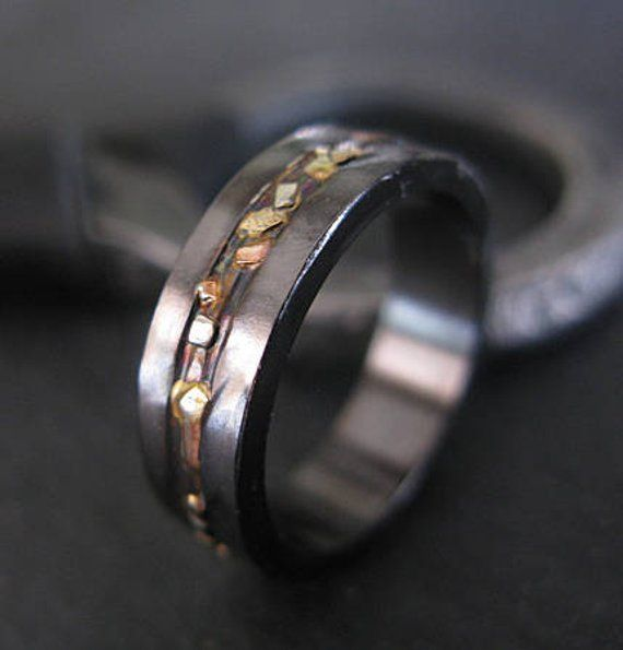 Black Gold Ring Mosaic River 6mm Unisex Ring Mens Rings Mens Wedding Band  Gold Viking Wedding Ring M cda04c665ada