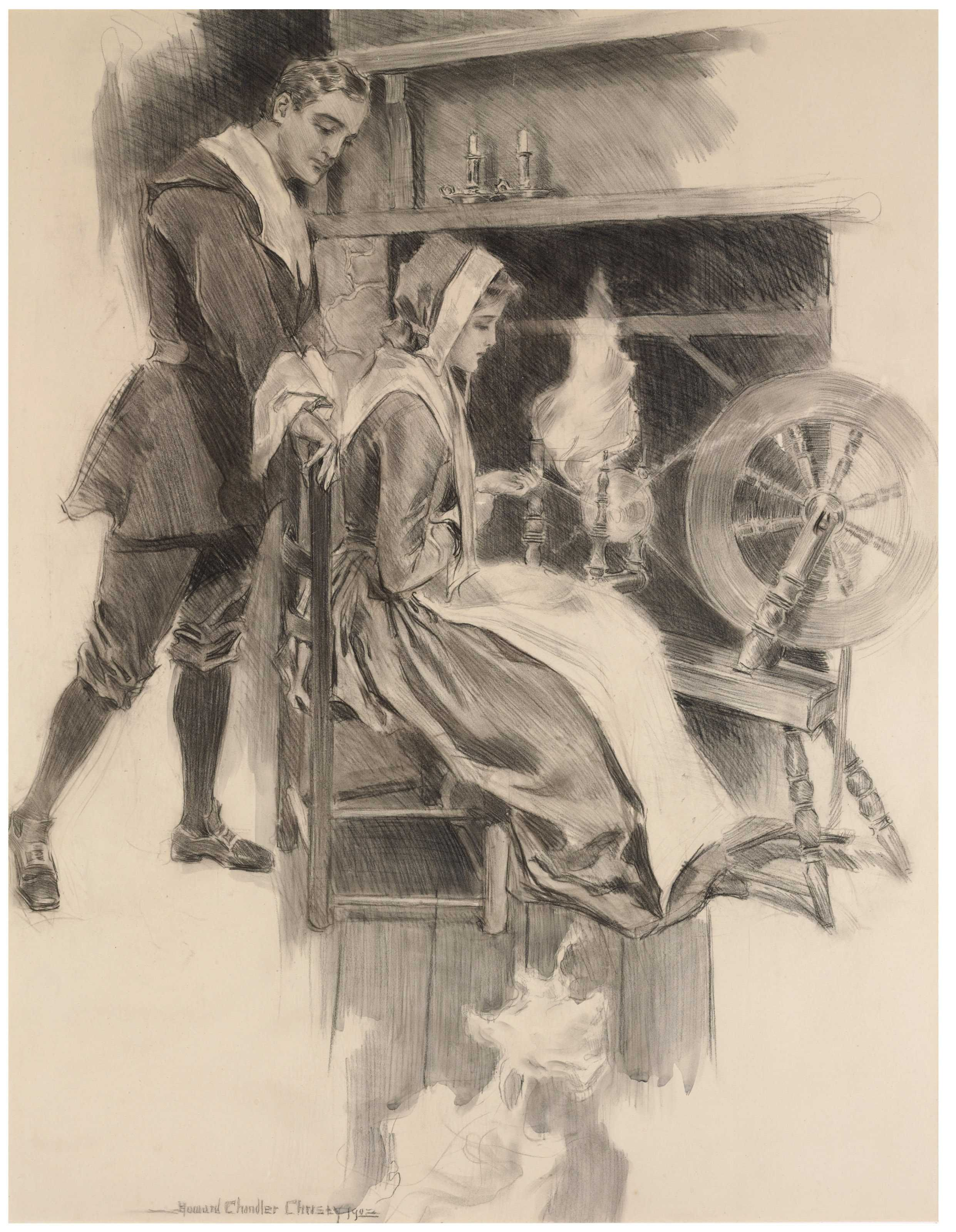 The Spinning Wheel from 'The Courtship of Miles Standish' signed and dated 'Howard Chandler Christy 1902' (pencil and wash on paperboard) Howard Chandler Christy . https://onlineonly.christies.com/s/america-illustrated-norman-rockwell-his-contemporaries/spinning-wheel-the-courtship-miles-standish-14/22441
