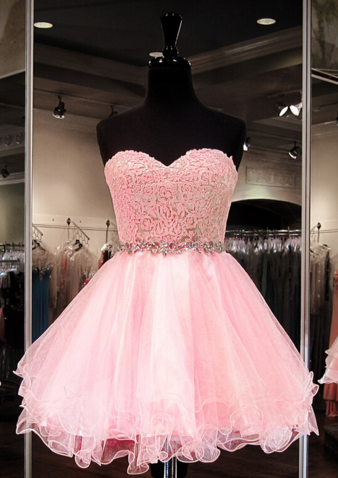 Custom Made Sweetheart Strapless Mini Homecoming Dress ...