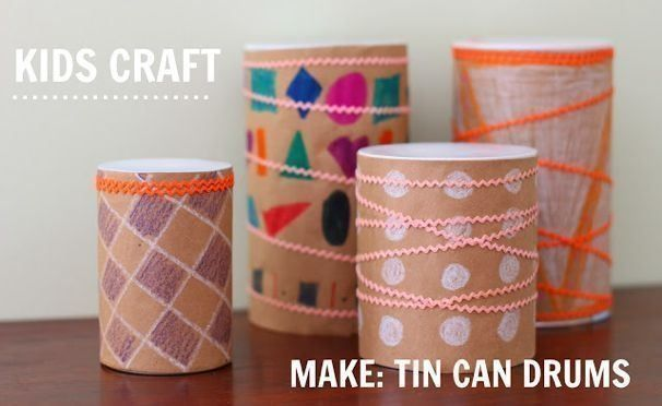 Turn a tin can into a tiny drum, a perfect toy for your toddler!