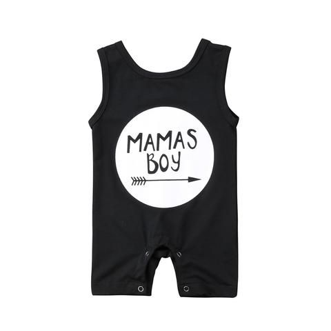 616a89090 Cotton Newborn Baby Boy Sleeveless Romper Letter printed Boy ...