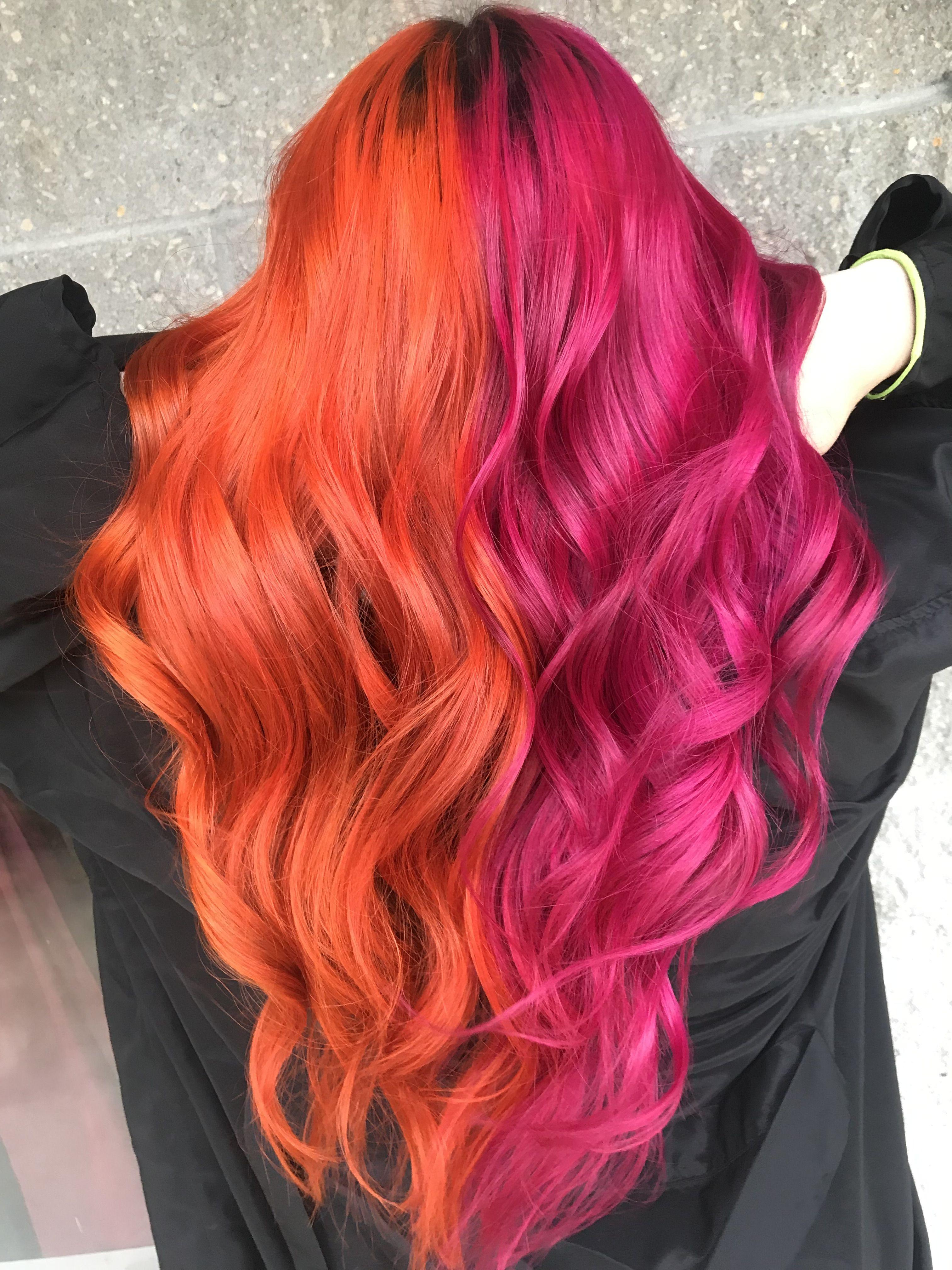 Split Orange And Pink Hair Hair Hairdye Splithair Orangehair Pinkhair Orange Pink Matrixcol Pink And Orange Hair Hair Color Orange Split Dyed Hair