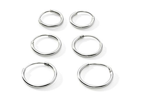 Three Pairs Sterling Silver Small Endless Hoop Earrings For Cartilage Nose Or Lips 10mm
