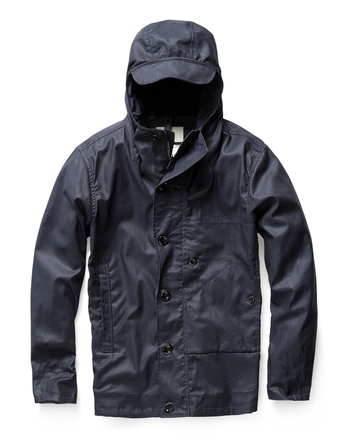 27535512fe9eb Hooded jacket with a pocket mix and button-down placket. The hood features  a rear cinch and the back hem has a single vent.