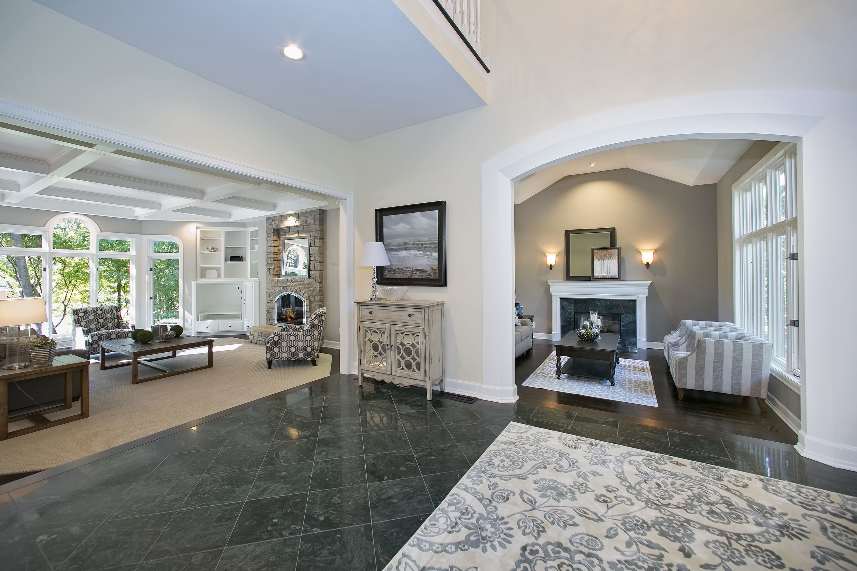 Looking Into The Formal Living Room Foyer And Family Room It S A Wonderful Open Floor Plan With Just En Family Living Rooms Formal Living Rooms Family Room