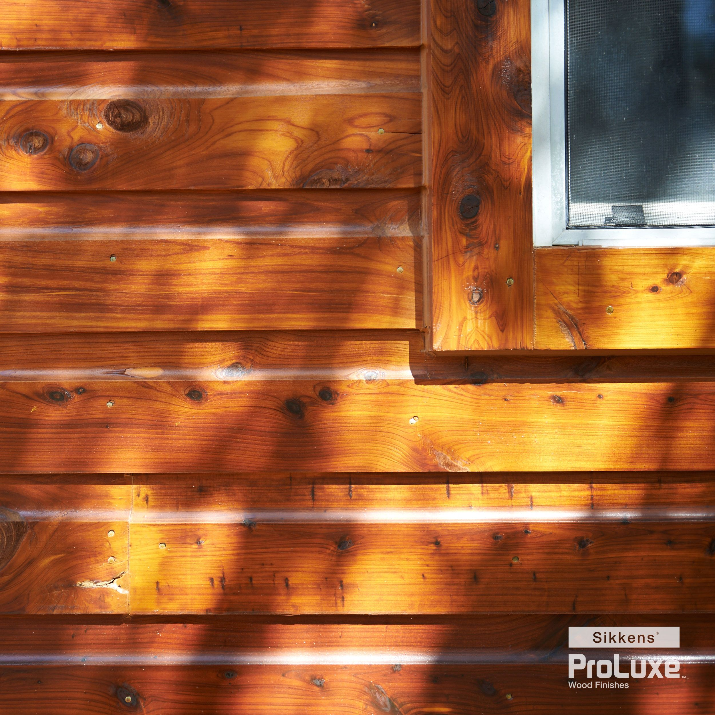 Real wood siding featuring sikkens proluxe cetol srd in for How to stain log cabin