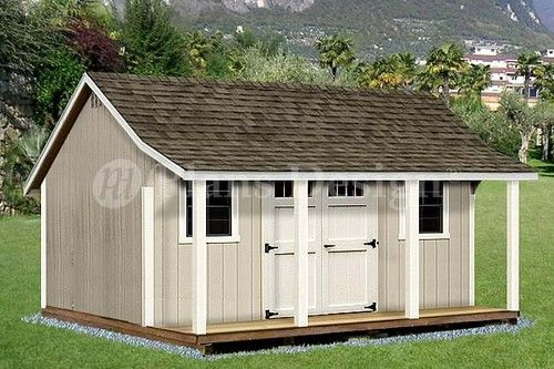 12 X 16 Shed With Porch Pool House Plans P81216 Free Material List 610708151722 Ebay Shed With Porch Guest House Shed Diy Shed Plans
