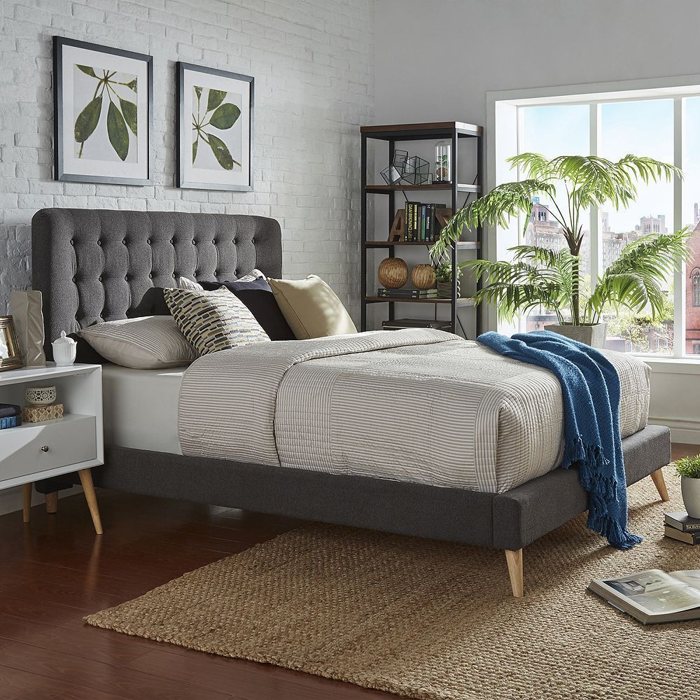 Best Homevance Peralta Mid Century Button Tufted Bed In 2019 400 x 300