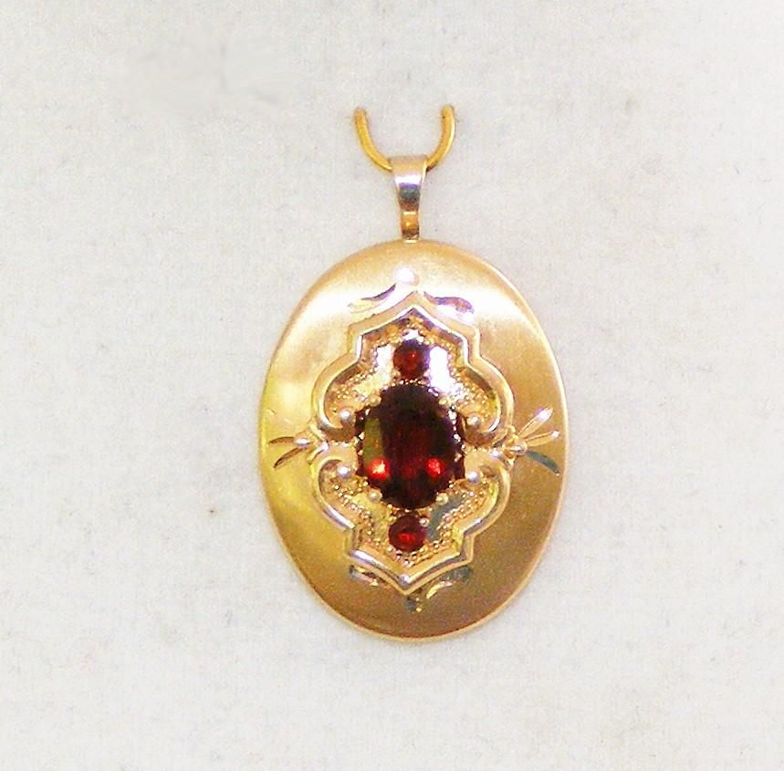 "14K Yellow Gold Signed Vintage Two Picture Locket with Three Pigeon Blood Red Faceted Garnets, See me at the ""Vintage Jewelry Stars"" shop at http://www.rubylane.com/shop/vintagejewelrystars!!"