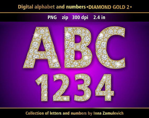 Gold And Diamond Letters Numbers Digital Clip Art In Png File Etsy Digital Alphabet Letters And Numbers Digital Clip Art