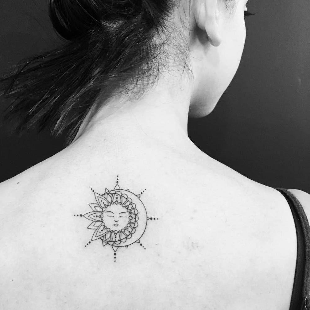 Sun And Moon Tattoo On The Upper Back Moon Tattoo Sun Tattoo Tattoos For Women