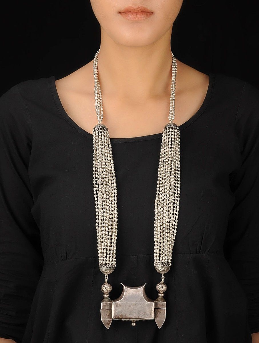 Buy Silver Ethno Bold Necklace Colaba Tales Tribal Inspired Jewelry Online at Jaypore.com