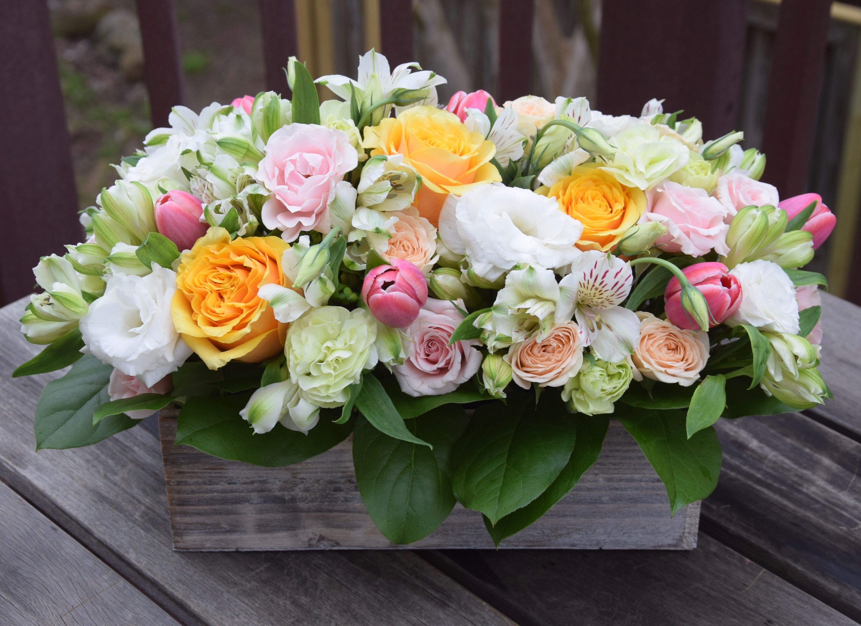 Blooming Garden Flower Box With Alstroemeria Roses Tulips