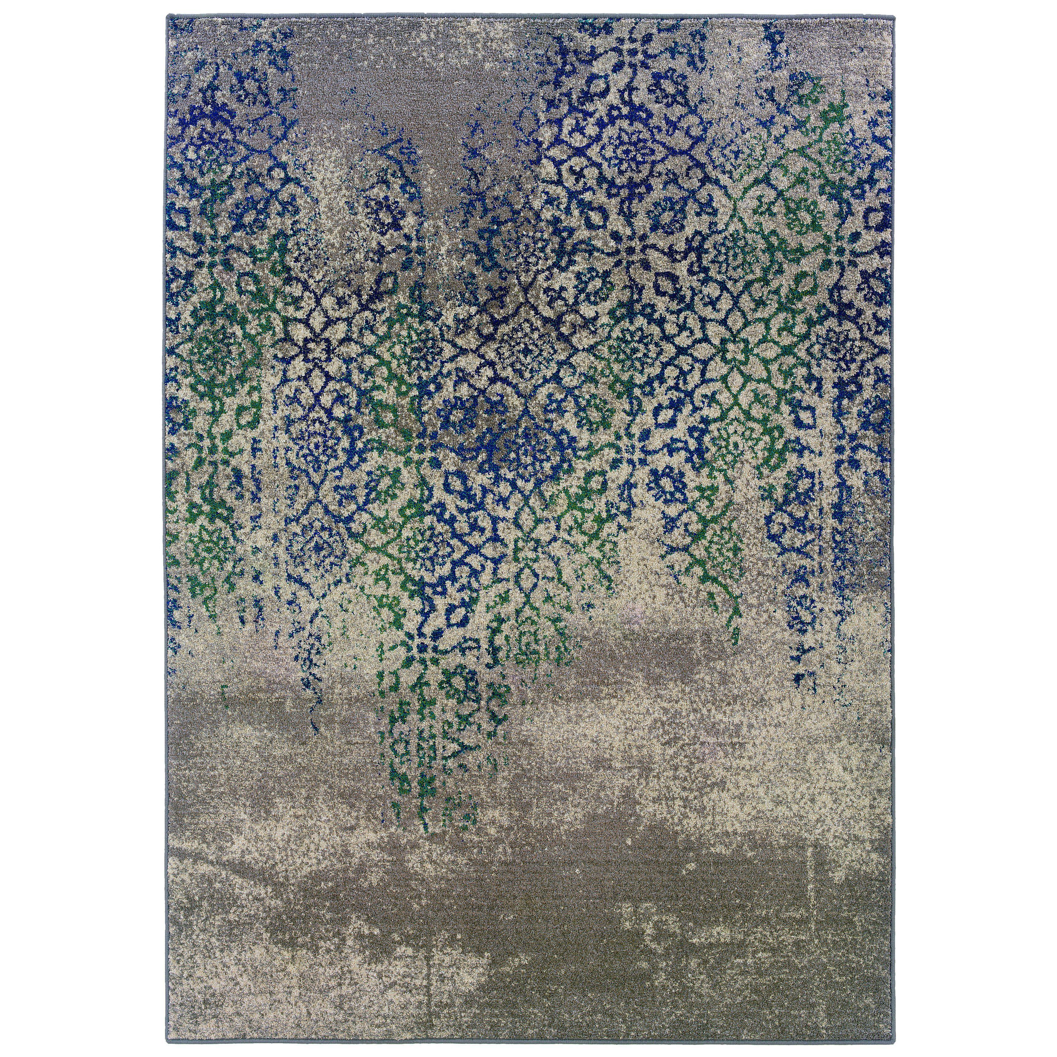 Distressed Motif Grey Blue Rug (99 X 122)