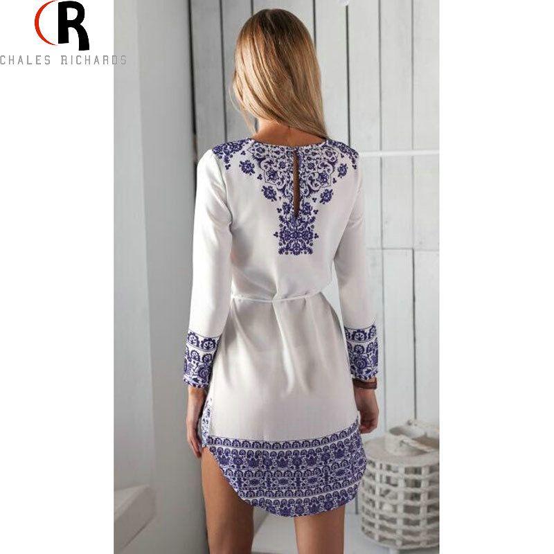 2016 Summer Autumn White Blue Porcelain Long Sleeve Loose Casual Mini  Keyhole Back Hem Tile Prints Plus Size Shift Vestido Dress d8f77ed30b27