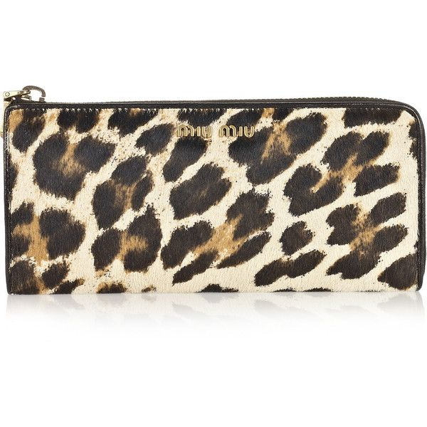 e0ca0180791a Miu Miu Leopard-print calf hair wallet ( 275) ❤ liked on Polyvore featuring  bags