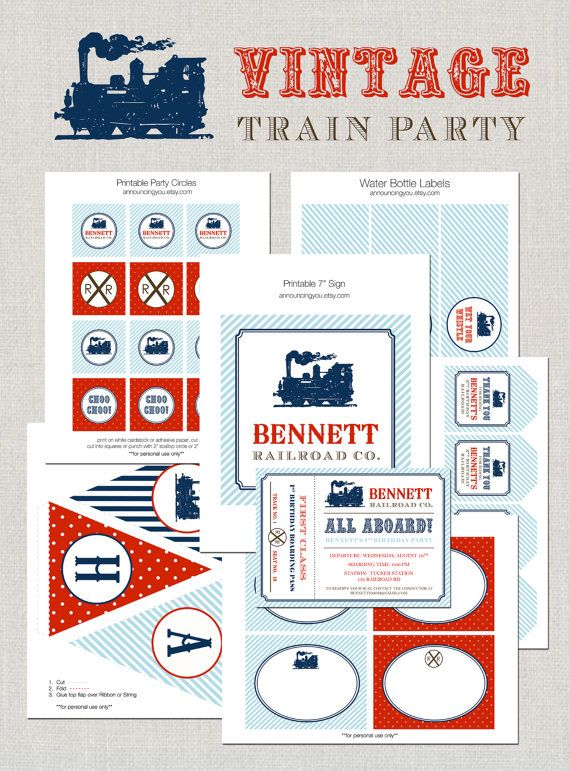 Vintage Train Ticket Birthday Party Invitation By Announcingyou 1500