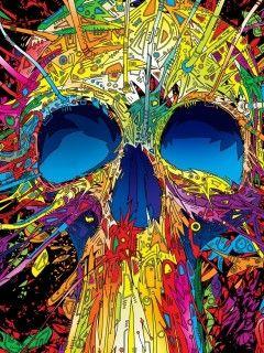 Download Colors Skull Wallpaper Mobile Wallpapers Skull Wallpaper Skull Art Psychedelic Art