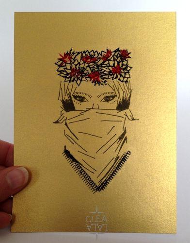 Dessin - couronne brodée sur papier