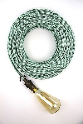 green white fabric electrical cloth textile cord double insulated 3