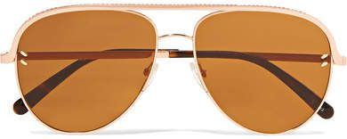 9738513e59ad Stella McCartney - Aviator-style Rose-gold-tone And Acetate Sunglasses -  Pink