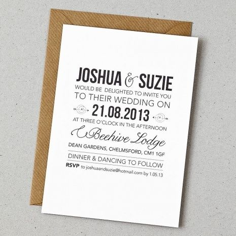 Bon Modern Wedding Invitation Wording