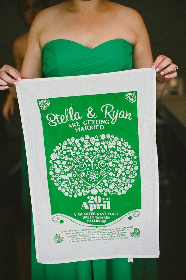 apple green wedding tea towel // photo by Natasja Kremers // View ...