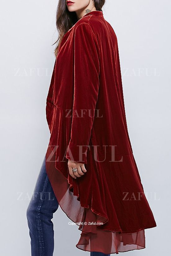 Swingy Velvet Long Sleeve Coat  10f0cf3e2
