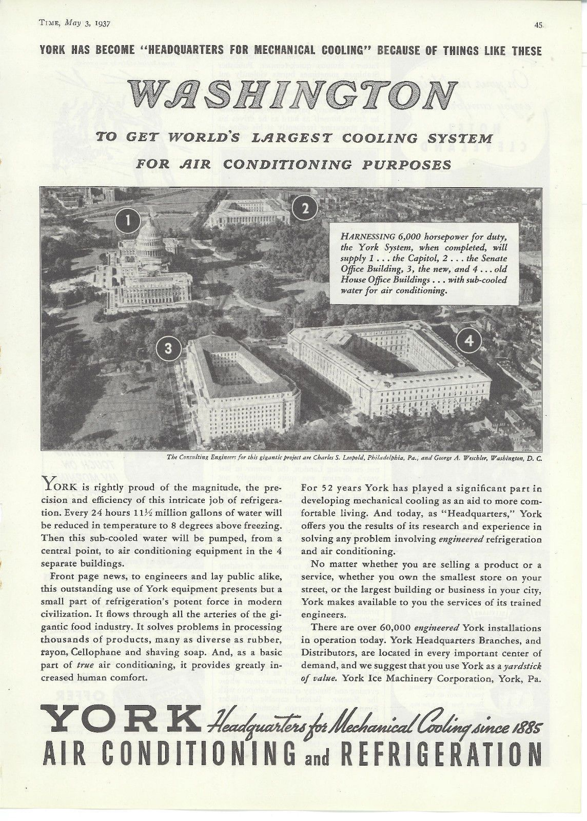 1937 York Air Conditioning featuring the US House Office