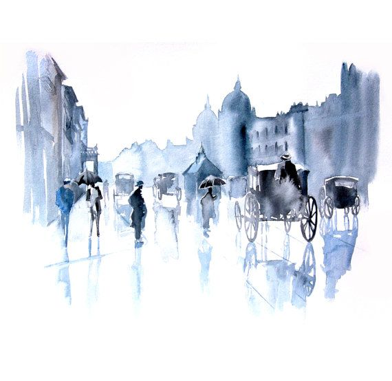 Old London city abstract ART PRINT 13X19 watercolor painting. $45.00, via Etsy.