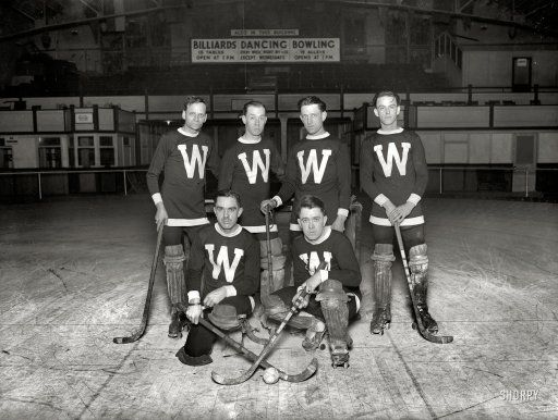 """January 22, 1926. Washington, D.C. """"Arcade Hockey Club."""" And if roller hockey isn't your cup of tea, we also have Billiards Dancing Bowling."""