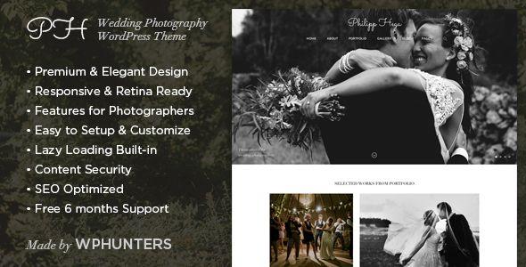 PH - Responsive Wedding Photography WordPress Theme | Pinterest