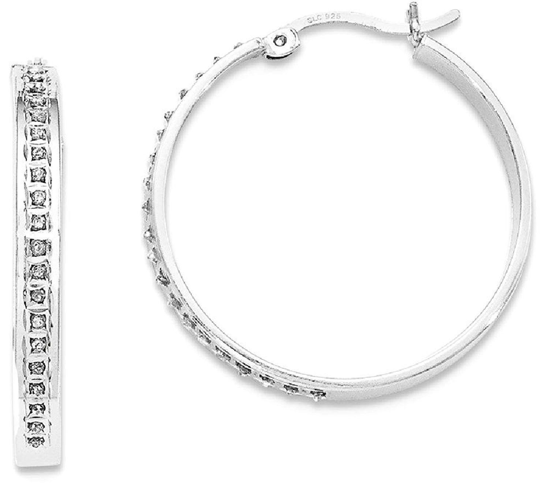 14k White Gold Diamond cut Square Tube Endless Hoop Earrings Women s
