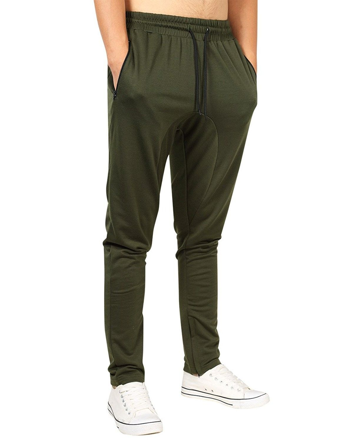mens activewear pants with pockets zipper