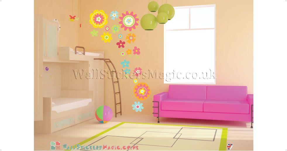 Spring Flower Fabric Wall Sticker Decals Wall Art Wall Transfers ...