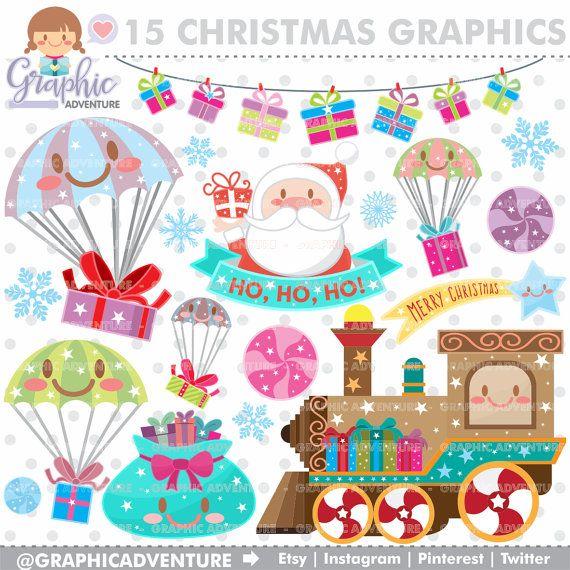 Christmas Clipart Christmas Graphics Commercial Use Kawaii Etsy Christmas Clipart Christmas Graphics Clip Art