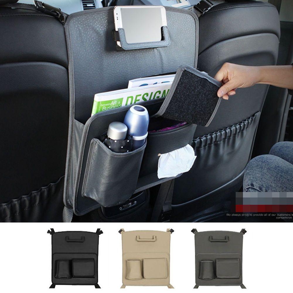 Car Back Seat Partition Smart Phone Holder Drink Cup Holder Multi Storage Gray | eBay