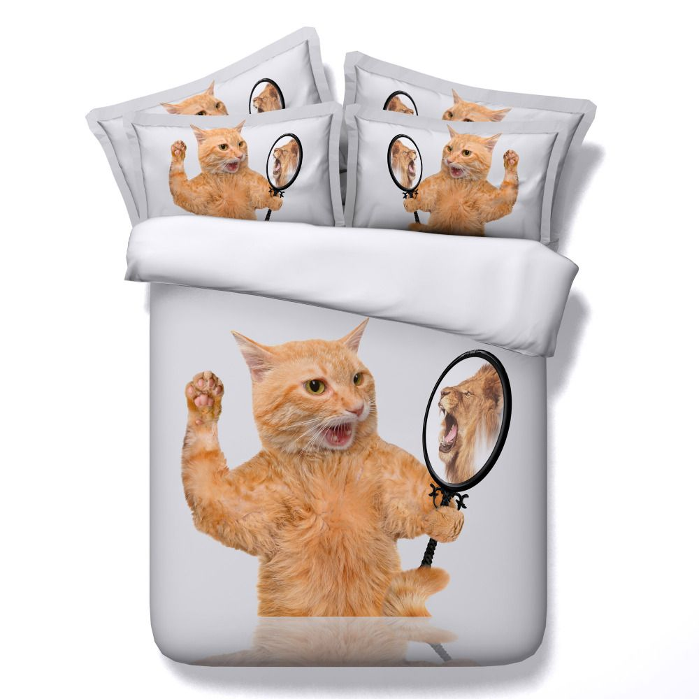 Cat Comforter Bedding Sets King Queen Single Twin Size Lion 3d